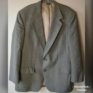 Bill Blass 38S Sport Coat  Plaid Blazer Wool